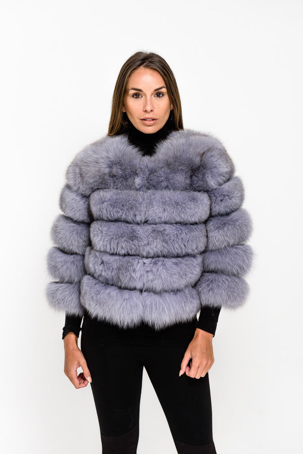 Light Grey Five Panel Fox Fur Coat - Poshpoms