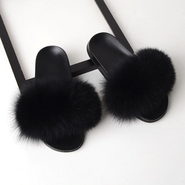 Fox Fur Sliders - Black