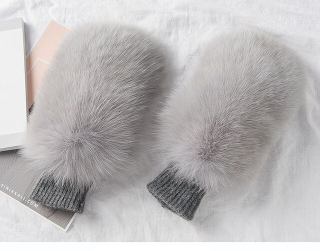 Light Grey Wool Fox Fur Gloves