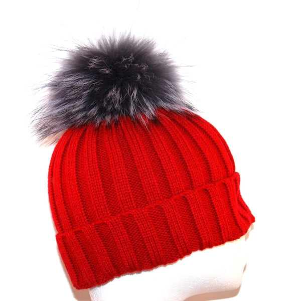 Red Raccoon Fur Bobble Hat - Grey Pom - Poshpoms