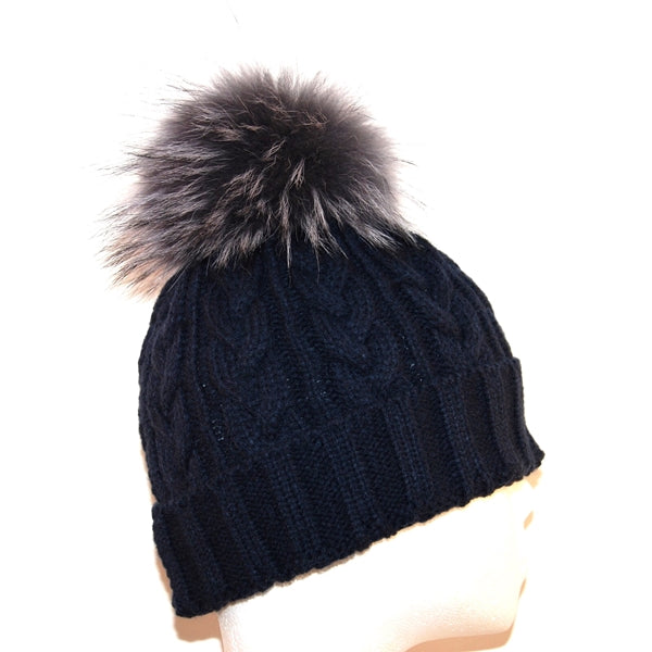 Navy Cross Knit Raccoon Fur Bobble Hat - Grey Pom - Poshpoms