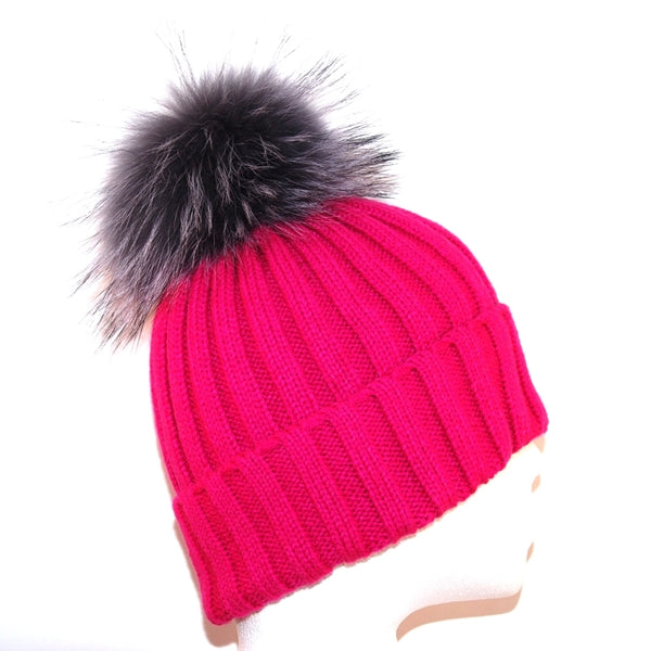 Pink Raccoon Fur Bobble Hat - Grey Pom - Poshpoms