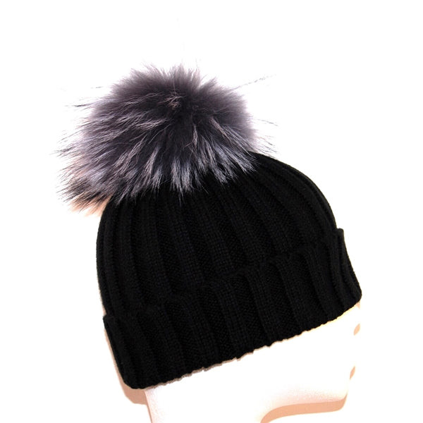 Black Raccoon Fur Bobble Hat - Grey Pom - Poshpoms