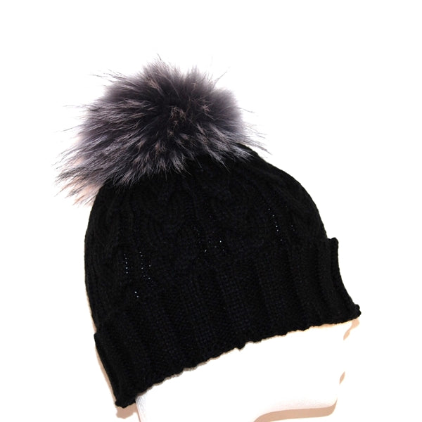 Black Cross Knit Raccoon Fur Bobble Hat - Grey Pom - Poshpoms