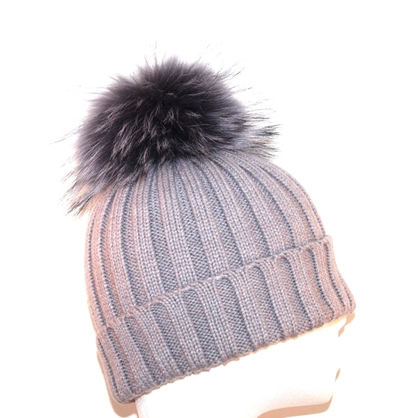 Light Grey Raccoon Fur Bobble Hat - Matching Pom Pom - Poshpoms