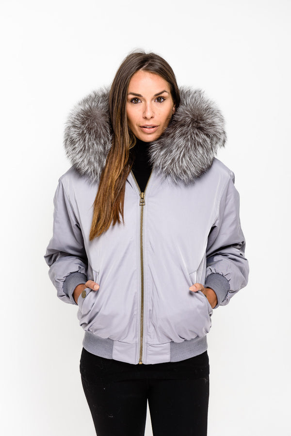 Grey Fox Fur collar Bomber Jacket - Silver Fox - Poshpoms