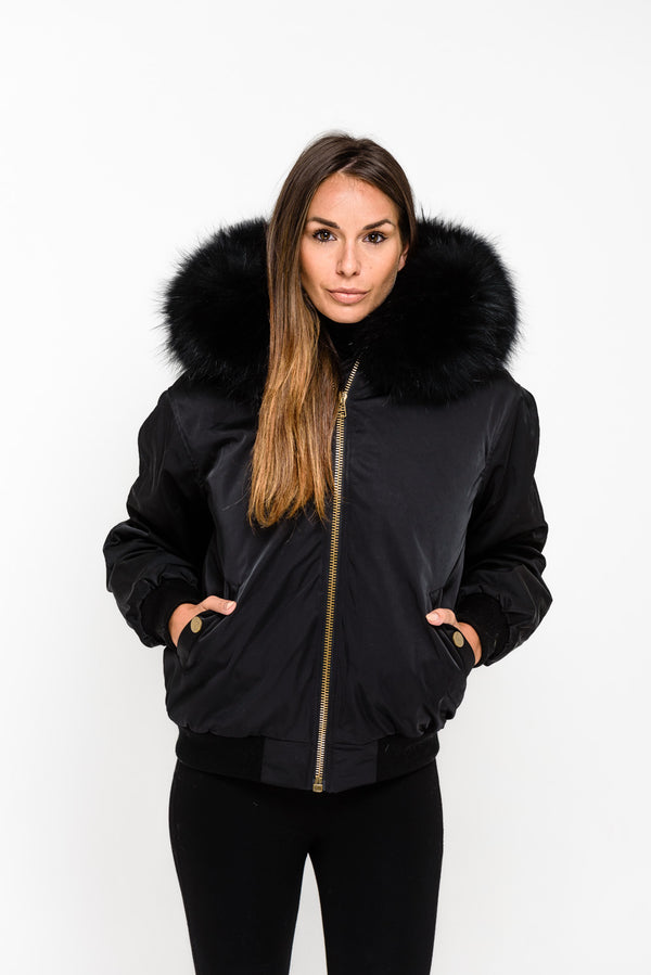 Black Raccoon Fur collar Bomber Jacket - Matching Fur - Poshpoms