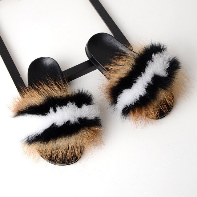 Raccoon Fur Sliders - Natural/Black