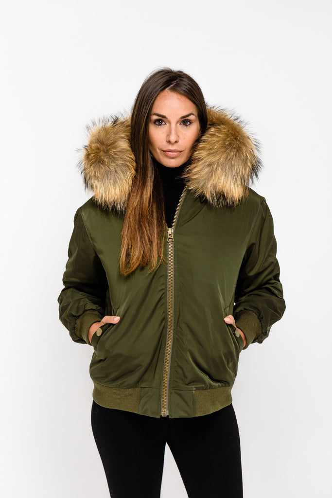 Khaki Raccoon Fur collar Bomber Jacket - Natural Fur - Poshpoms