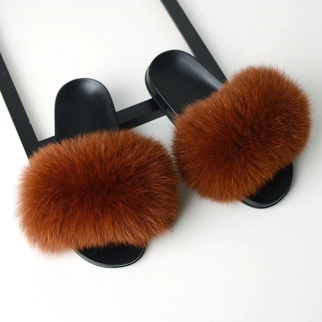 Fox Fur Sliders - Orange