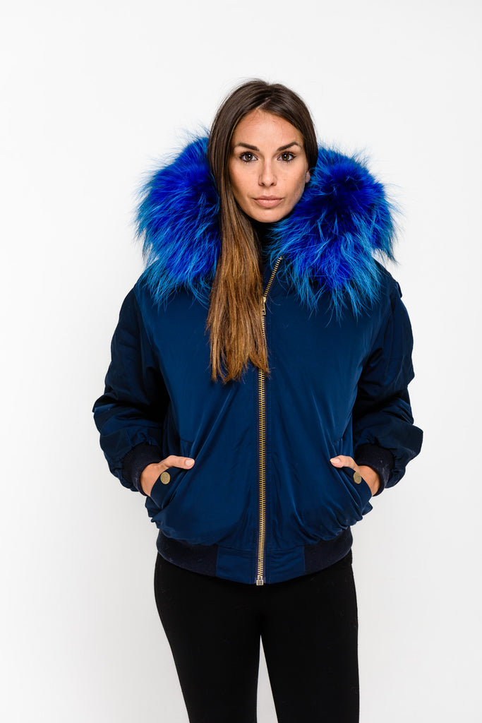 Navy Raccoon Fur collar Bomber Jacket - Navy Fur - Poshpoms