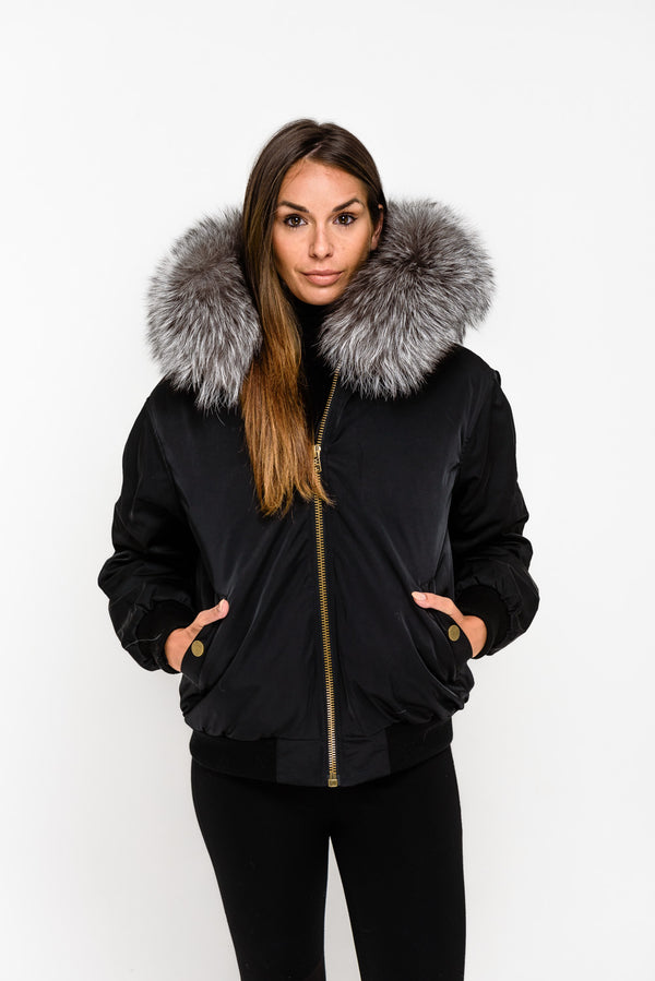 Black Fox Fur collar Bomber Jacket - Silver Fox - Poshpoms