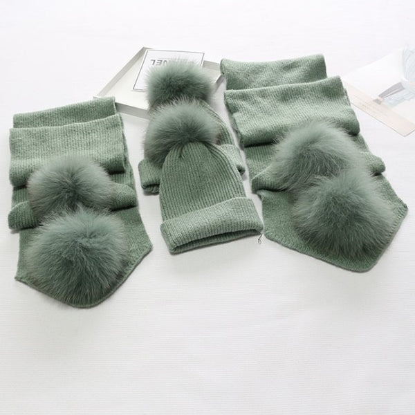 Pale Green Matching Fox Fur Gift Set - Poshpoms