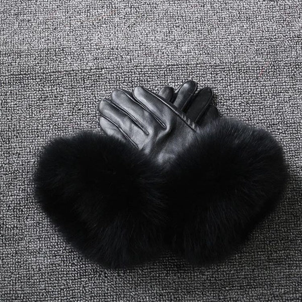 Black Leather Fox Fur Gloves - Black Fur - Poshpoms