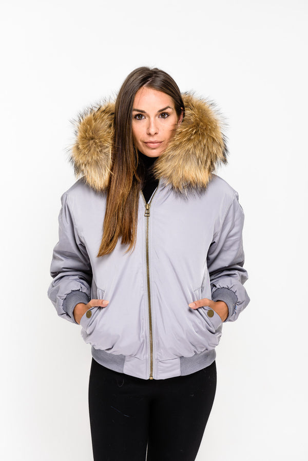 Grey Raccoon Fur collar Bomber Jacket - Natural - Poshpoms