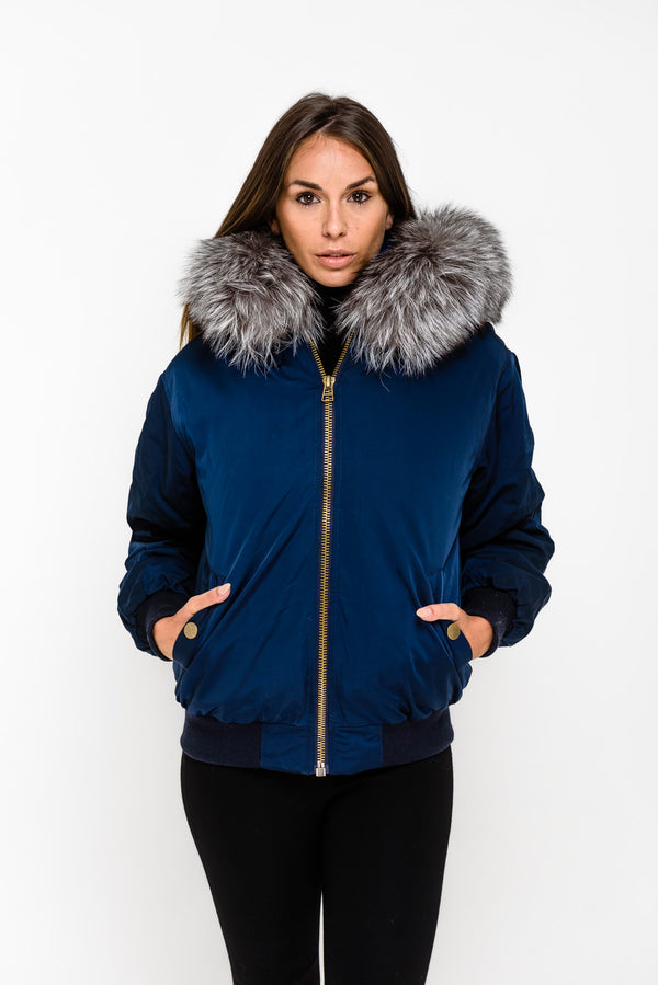 Navy Fox Fur collar Bomber Jacket - Silver Fox - Poshpoms
