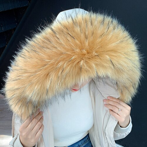 XL Natural Raccoon Fur Collar Attachable Hood - Poshpoms