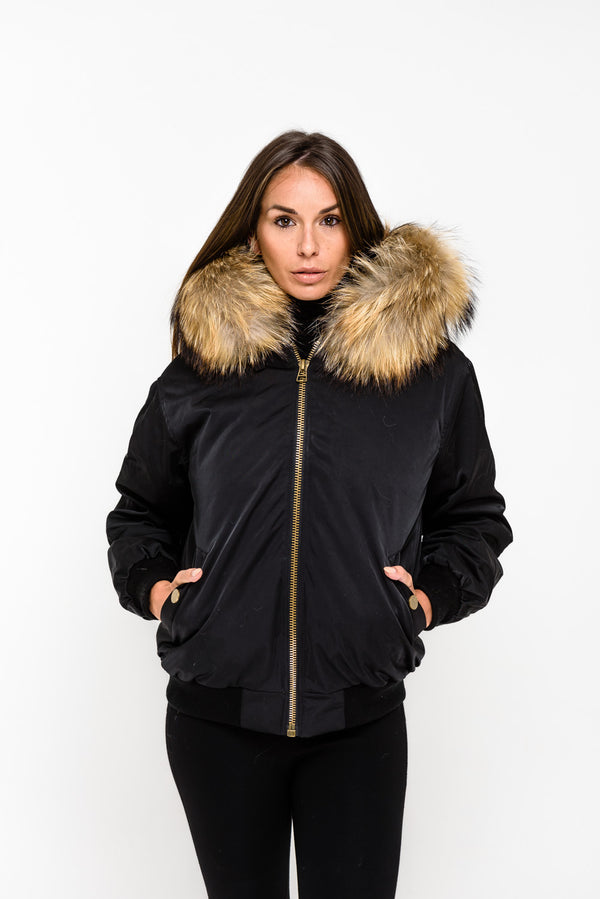 Black Raccoon Fur collar Bomber Jacket - Natural Fur - Poshpoms