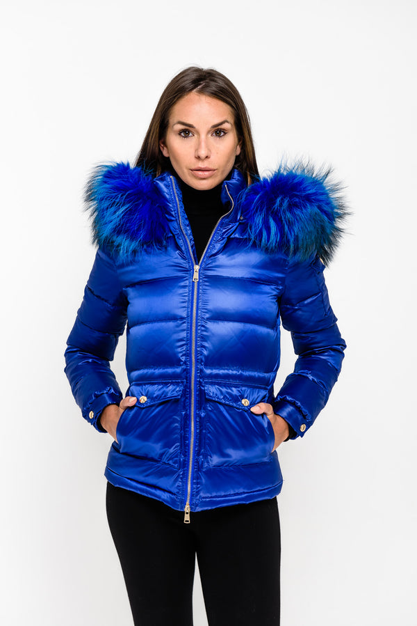 Electric Blue Down Coat - Matching Fur - Poshpoms