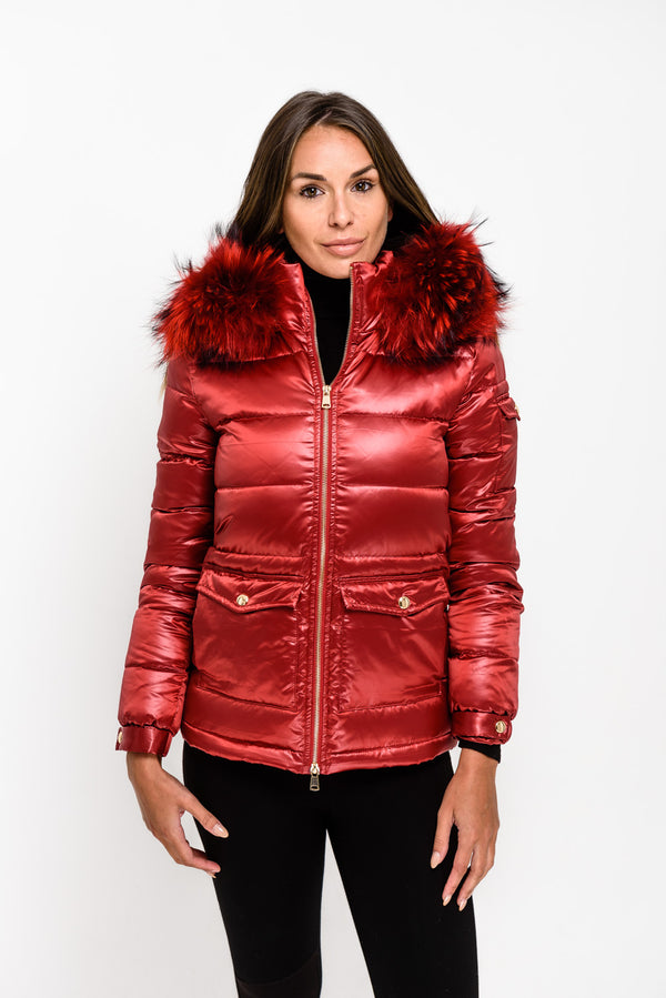 Red Down Coat - Matching Fur - Poshpoms