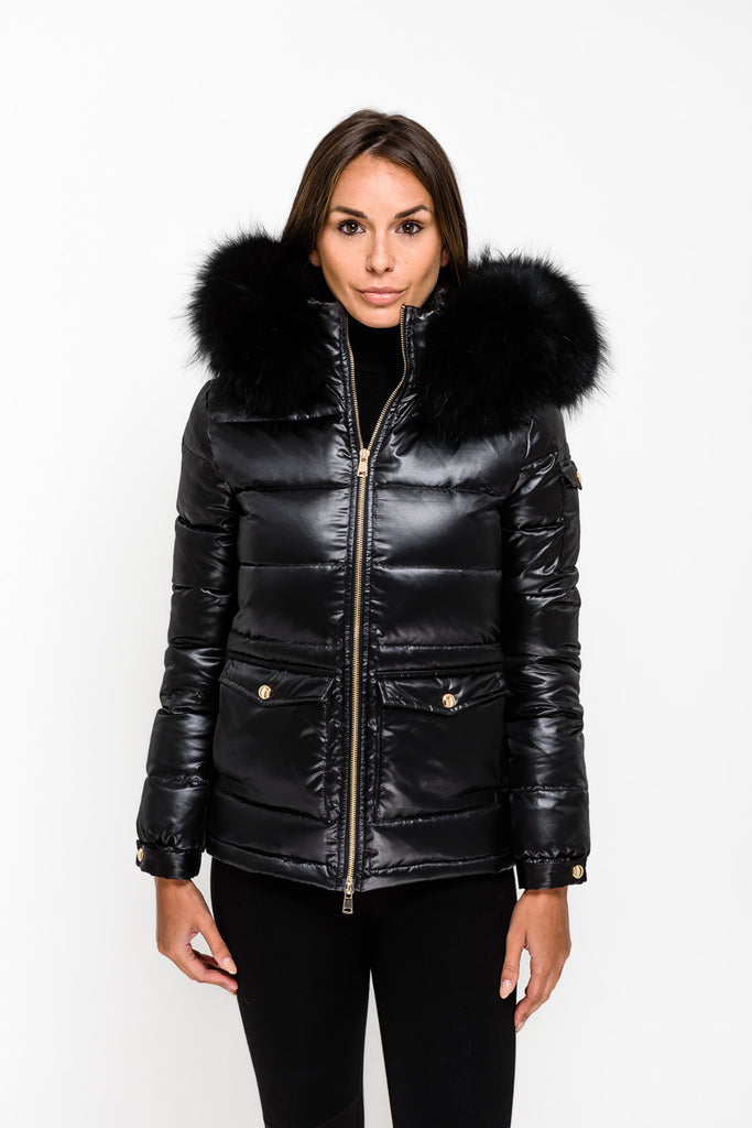 Black Down Coat - Black Fur - Poshpoms