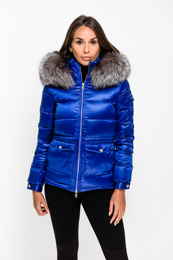 Electric Blue Down Coat - Silver Fox Fur - Poshpoms