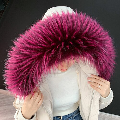 XL Pink Raccoon Fur Collar Attachable Hood - Poshpoms
