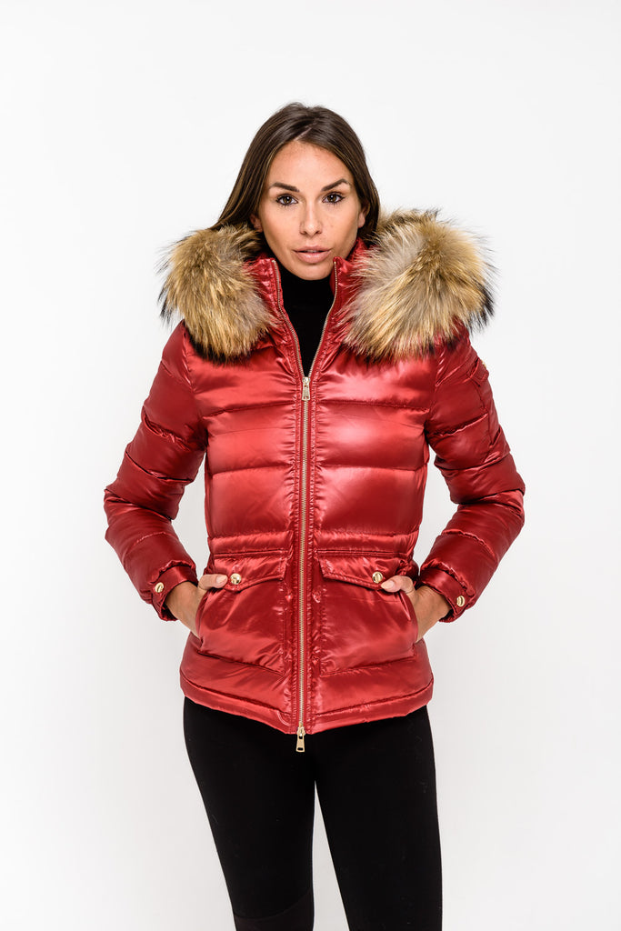 Red Down Coat - Natural Fur - Poshpoms