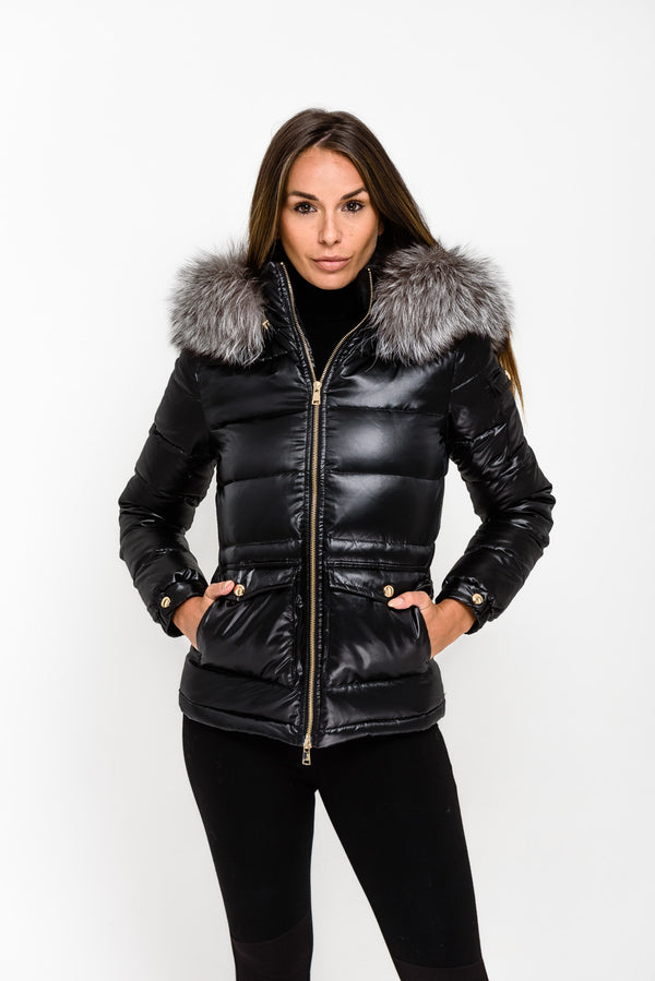 Black Down Coat - Natural Silver Fur - Poshpoms