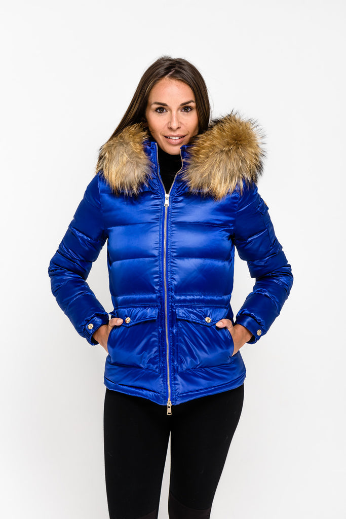 Electric Blue Down Coat - Natural Fur - Poshpoms