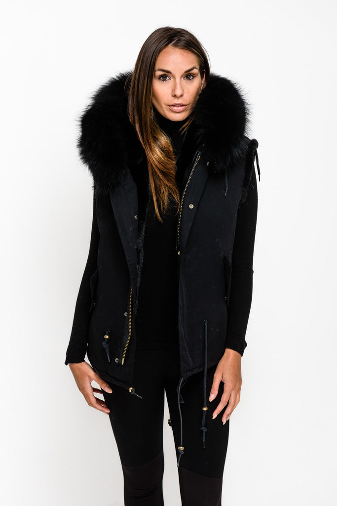 Black Raccoon Fur collar Armless Parka - Matching Fur - Poshpoms