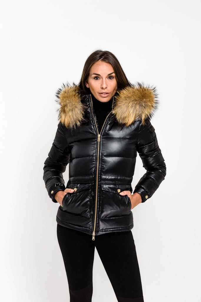 Black Down Coat - Natural Fur - Poshpoms