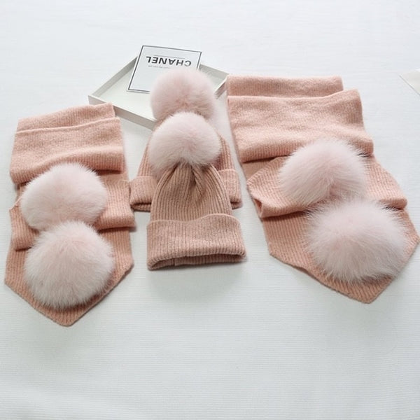 Baby Pink Matching Fox Fur Gift Set - Poshpoms