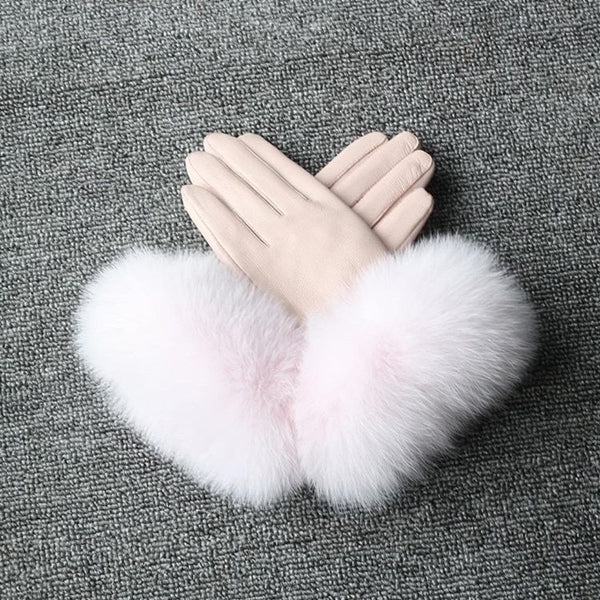 Pale Pink Leather Fox Fur Gloves - Pale Pink Fur - Poshpoms