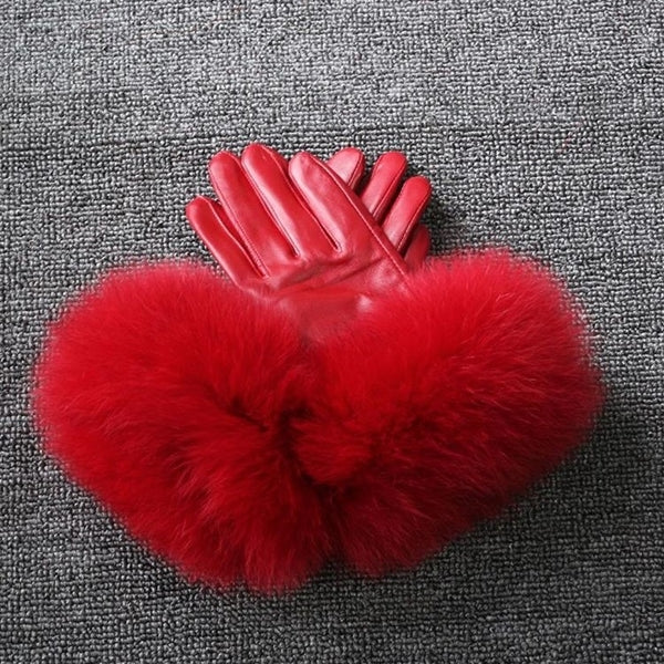 Red Leather Fox Fur Gloves - Red Fur - Poshpoms