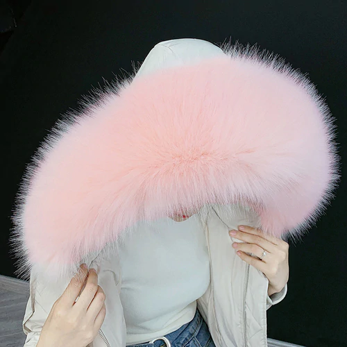 XL Baby Pink Raccoon Fur Collar Attachable Hood - Poshpoms