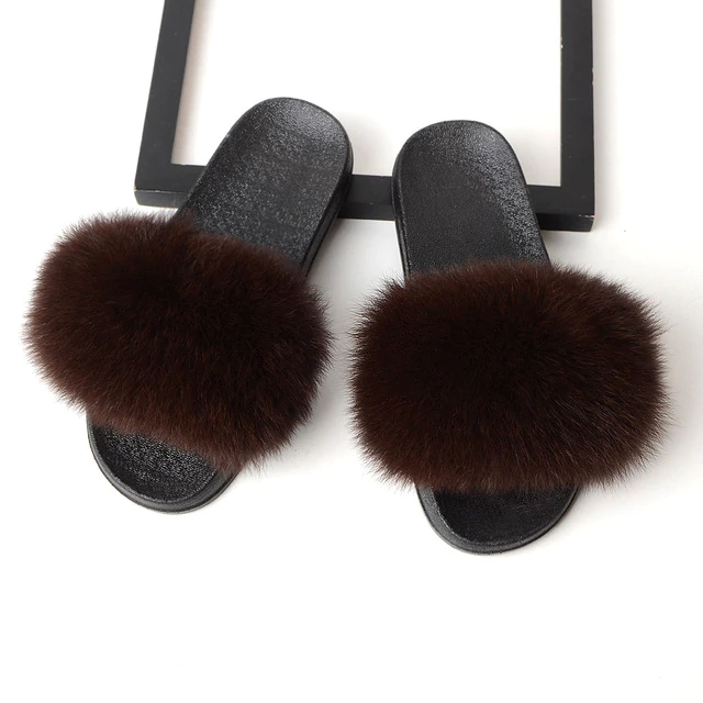Fox Fur Sliders - Brown