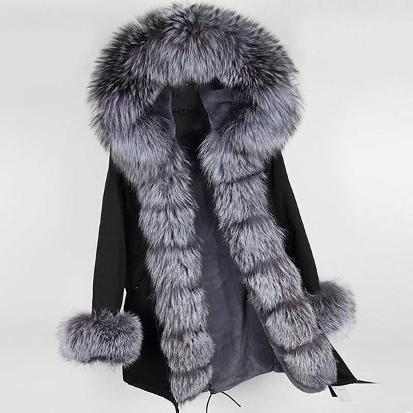 Black Fox Fur Fur collar Parka Coat - Silver Fox Fur - Poshpoms