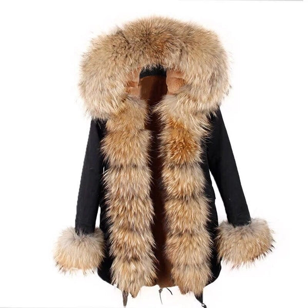 Black Raccoon Fur collar Parka Coat - Raccoon Fur - Poshpoms
