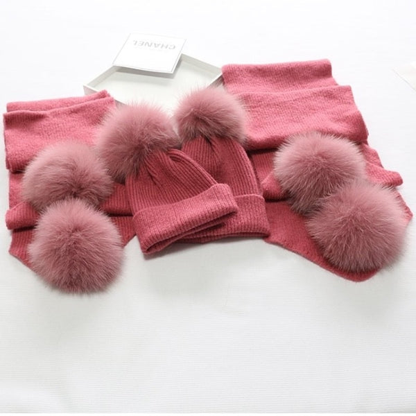 Pink Matching Fox Fur Gift Set - Poshpoms