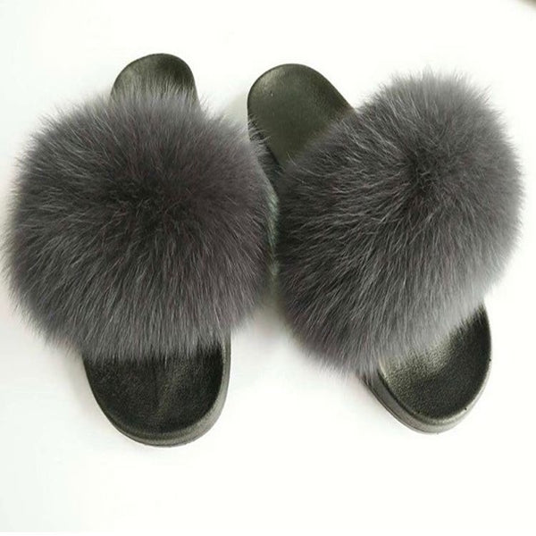 Fox Fur Sliders - Dark Grey - Poshpoms