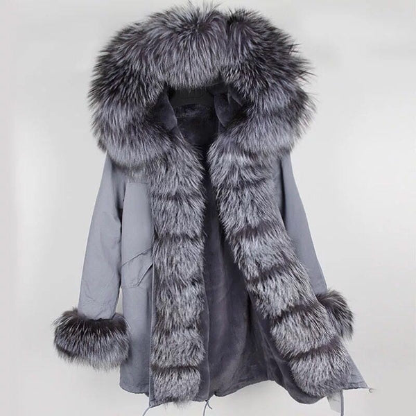 Grey Fox Fur Fur collar Parka Coat - Silver Fox Fur - Poshpoms
