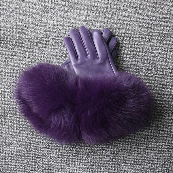 Purple Leather Fox Fur Gloves - Purple Fur - Poshpoms