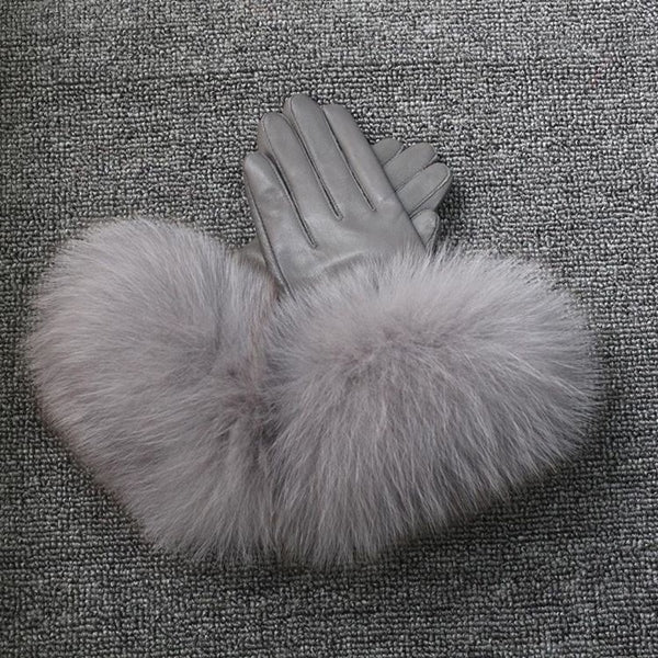 Dark Grey Leather Fox Fur Gloves - Dark Grey Fur - Poshpoms