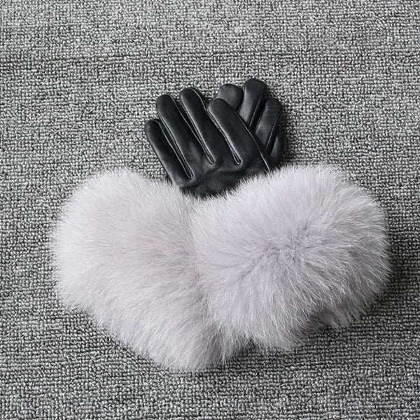 Black Leather Fox Fur Gloves - Light Grey Fur - Poshpoms