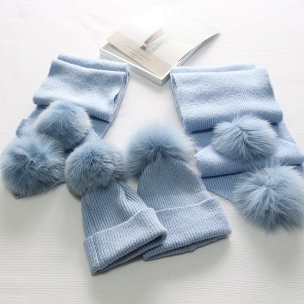 Light Blue Matching Fox Fur Gift Set - Poshpoms