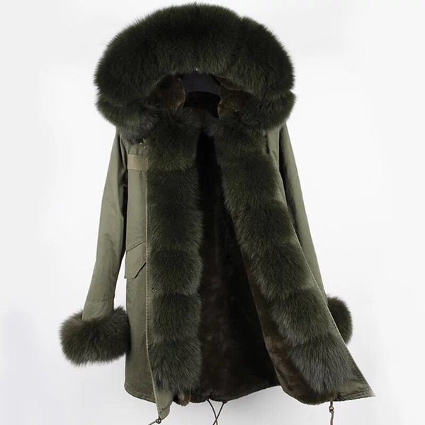 Khaki Fox Fur Fur collar Parka Coat - Green Fox Fur - Poshpoms