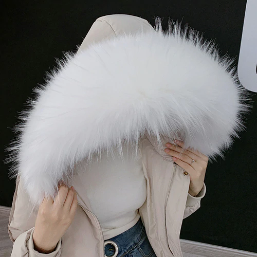 XL White Raccoon Fur Collar Attachable Hood - Poshpoms