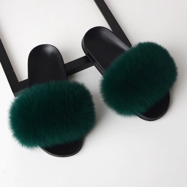 Fox Fur Sliders - Dark Green
