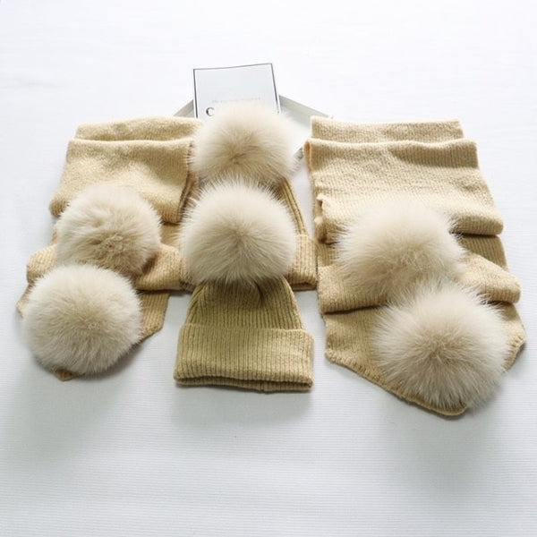 Beige Matching Fox Fur Gift Set - Poshpoms